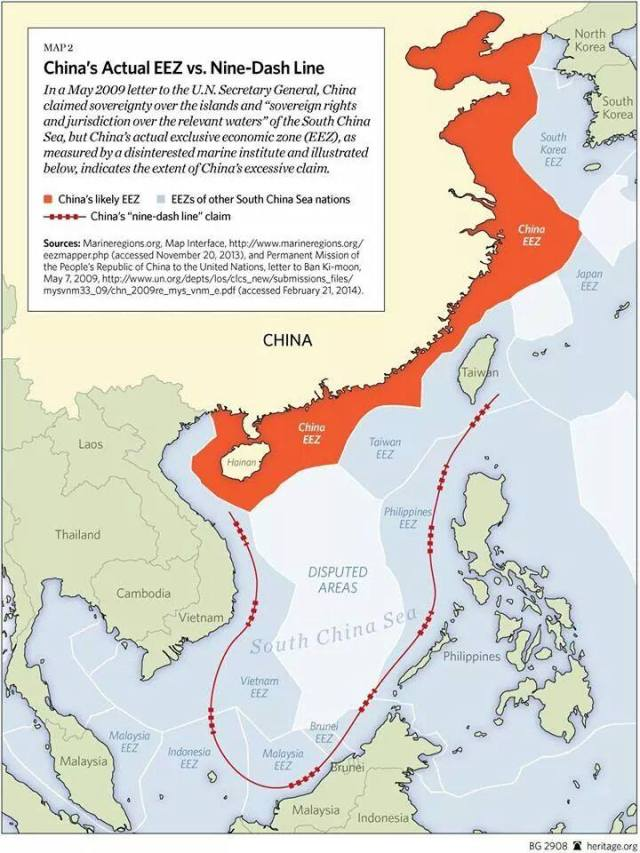 China's Exclusive Economic Zone according to UN laws