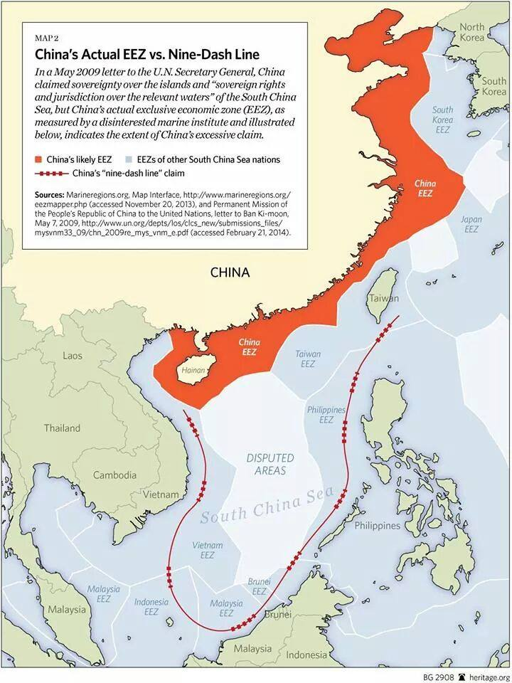 China's Exclusive Economic Zone according to UN laws
